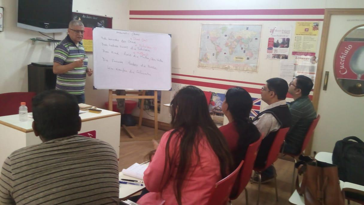 Prof. Shankar Mukherjee, is taking  German classes at our salt lake centre.